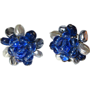 Vintage Crystal Earrings, 1950's W. Germany Clips