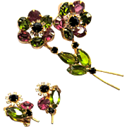 Juliana Rhinestone Brooch & Earrings, Floral Layered D & E