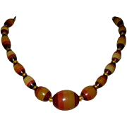 Lucite Necklace, Mid Century Striped Bead Modern
