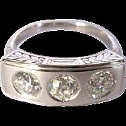 Platinum Diamond Ring, Antique Edwardian, GIA, 1.3 Cts