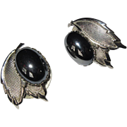 Vintage Earrings, 50's Clips on, Black Cabochons