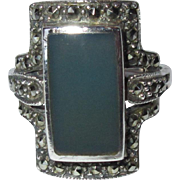 Deco Sterling Ring, Art Glass & Marcasite, Vintage 20's