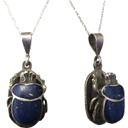 Vintage Sterling Scarab Pendant, Egyptian Souvenir, Hieroglyphics