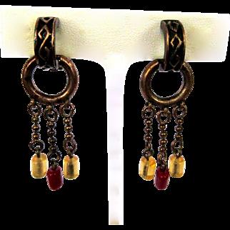 Vintage Hoop Earrings, Chains & Beads, Vintage Clips, Copper