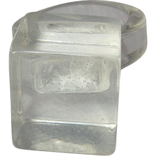 Clear Ice Cube Ring, 1960's Mod Mid Century