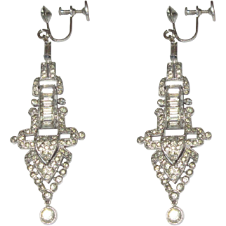 KTF Earrings, Alfred Philippe, Vintage 30's Rhinestone Pendant