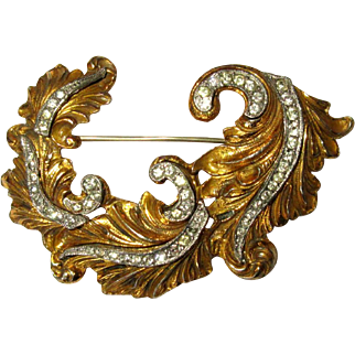 McClelland Barclay Rhinestone Leaf Pin, Vintage Brooch