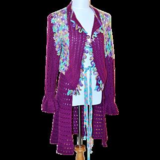 Vintage Artisan Crochet Purple Sweater
