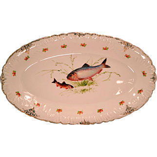 Antique Austrian Imperial Crown China Large Fish Platter