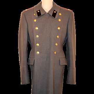 Men's Vintage Russian Military Officers Dress Wool Coat