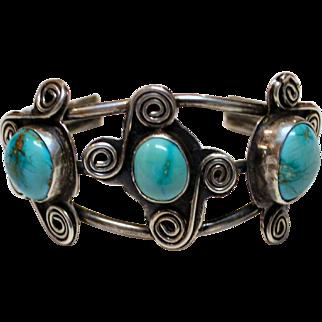 Vintage Native American Navajo Indian Three Turquoise Gemstone Sterling Silver Cuff Bracelet