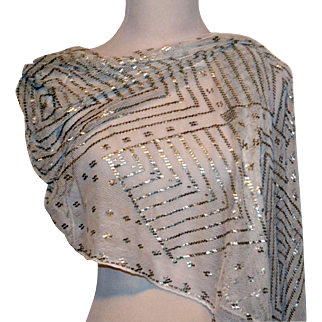 Antique Assuit Silver Metal 1920's Egyptian Shawl Scarf Excellent