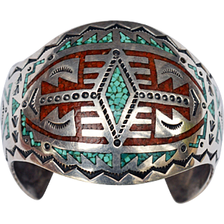 Vintage Signed Nakai Sterling Silver Turquoise Coral Inlaid Stamped Cuff Native American Navajo Indian