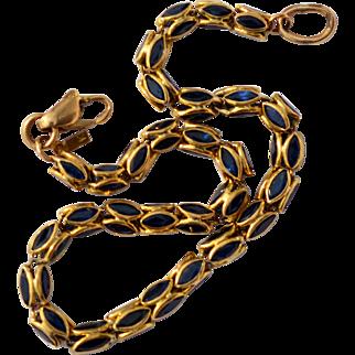 Vintage 14k Gold Sapphire Bracelet