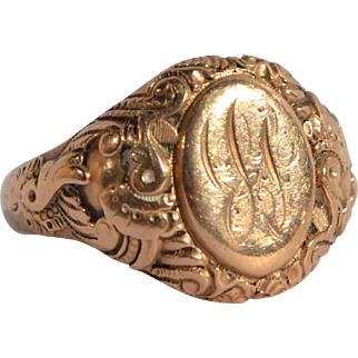 Antique Victorian Engraved Gold Signet Ring  Size 9 1/2