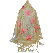 Vintage Silk Piano Shawl With Pink Flowers and Green Leaves and Vines.