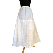 Edwardian White Cotton Slip Skirt  Flexible Size with Lace.