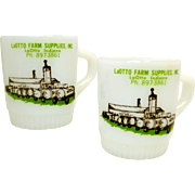 Pair of Advertising  Milk Glass Anchor Hocking Fire King Mugs Cups for Indiana Farm Supplies