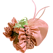 Vintage Pink Silk Ruched Bonnet Hat With Roses and Feathers A Delicacy.
