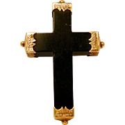 Antique Victorian 1865 Cross Crucifix Pin Brooch with 10K Gold Fittings.
