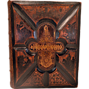 Antique 1880s Massive Holy Bible. Fine Binding of Tooled Leather. Includes the Apocrypha Books. Provenance  Included.