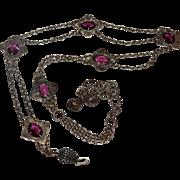 Antique Art Nouveau Belt Faux Amethyst Stones Or Use As Necklace