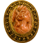 Antique Victorian High Relief Coral 14k Gold Cameo Hallmarked.