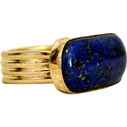 Finest Afghanistan Lapis and Sterling Silver Large Ring Size 9 1/2  to 10