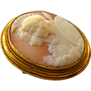 Antique Victorian Large Shell Cameo 14K Gold Goddess and Roman Centurion