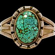 Vintage Navajo Native American Indian Hallmarked Wilbur Anderson Spider Web Turquoise Cuff Bracelet