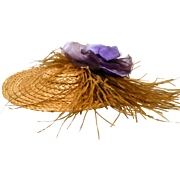 Vintage Straw Doll Hat Feathers and Flowers