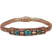 Sterling and 18k Gold Accents with Swiss Blue Topaz Gemstones Bracelet