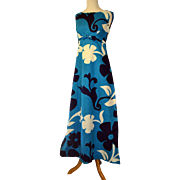 Vintage 1960s Hawaiian Maxi Dress