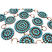 Zuni Concho Belt with Sleeping Beauty Turquoise Petit Point Cluster By Vicky M