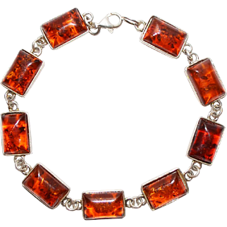 Vintage Baltic Amber Gemstone and Sterling Silver Bracelet