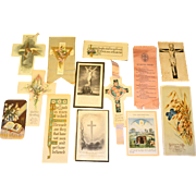 Collectors Lot 13 Vintage Easter Religious Spiritual Cards Crosses Ephemera Early 1900s