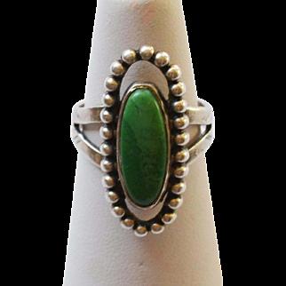 Vintage Malachite & Sterling SIlver Ring Cutout Design Size 6 1/2