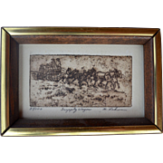 M.Lehman Numbered Print Supply Wagon  Western History Scene Miniature