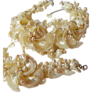 White Mother of Pearl Shells and Pearls Necklace Bracelet and Earring Set