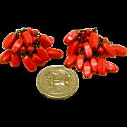 Vintage 1940s West Germany Red Earrings