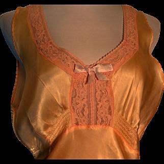 Vintage 1930s  Satin Lingerie Full Length Night Gown Glamour Plus