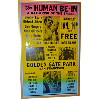 RARE Historical 1960s Psychedelic San Francisco Human Be-In Rock Bands Peaceniks Hippie. Leary, Rubin, Ginsberg, Santana Etc