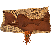 Large Faux Leopard Leather Artisan Clutch Handbag