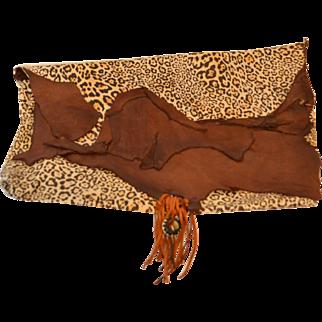 Large Faux Leopard Leather Artisan Clutch Handbag