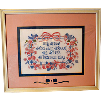 Vintage Framed and Double Matted Cross Stitch Sampler About Love