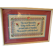 Vintage Framed Double Mat Cross Stitch About the Heart and Love