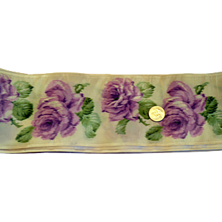 VIntage French Silk Ribbon with Watercolor Roses