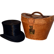 Victorian Beaver Silk Antique Top Hat with Leather Carrying Case Circa 1880