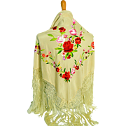 Vintage Large Silk Hand Embroidered Shawl With Hand Knotted  Fringe
