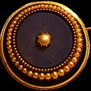 Victorian Enamel & Pearl Gold Locket Memorial Pin Brooch